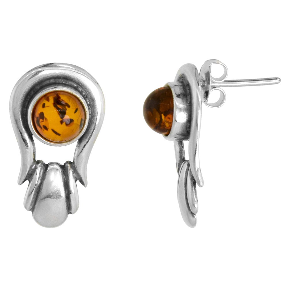 Sterling Silver Amber Earrings Round, 7/16 inch wide