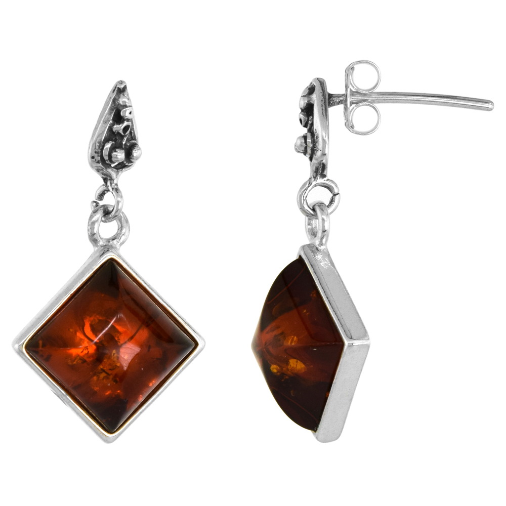 Sterling Silver Rhombic Amber Earrings Thin Frame, 5/8 inch wide