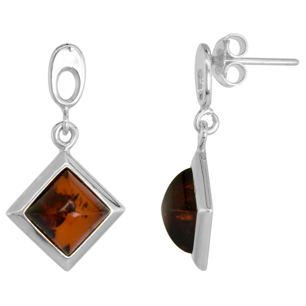 Sterling Silver Rhombic Amber Earrings Thick Frame, 5/8 inch wide