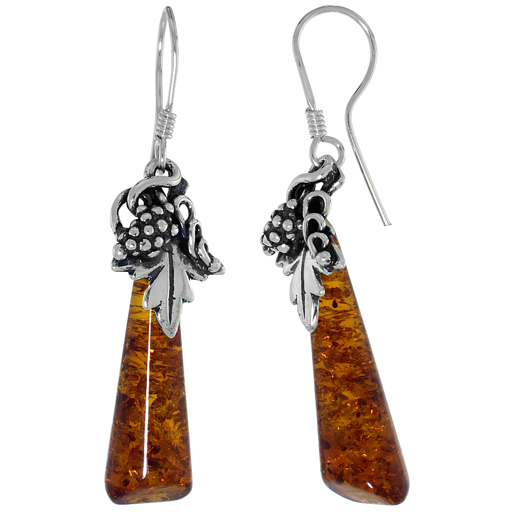 Sterling Silver Amber Hook Earrings Grape Design Tubular, 7/16 inch wide