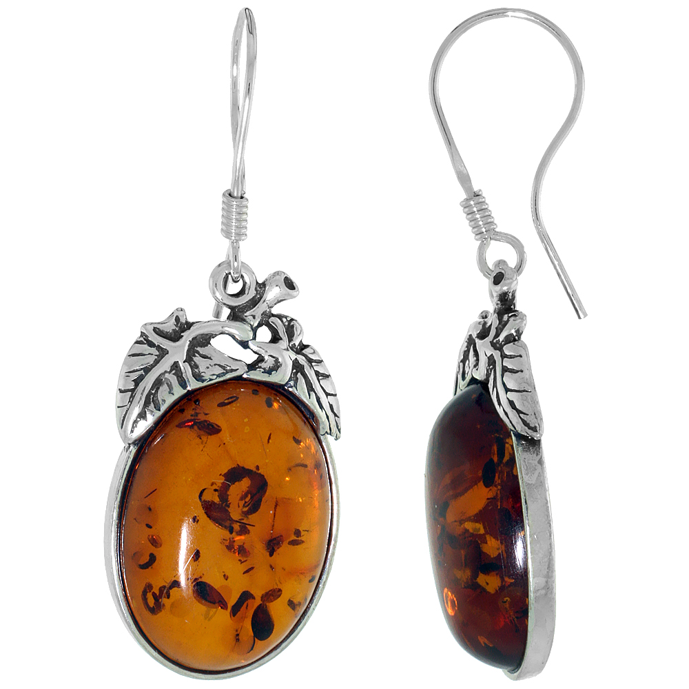 Sterling Silver Amber Hook Earrings Leaf Accents Oval, 5/8 inch wide
