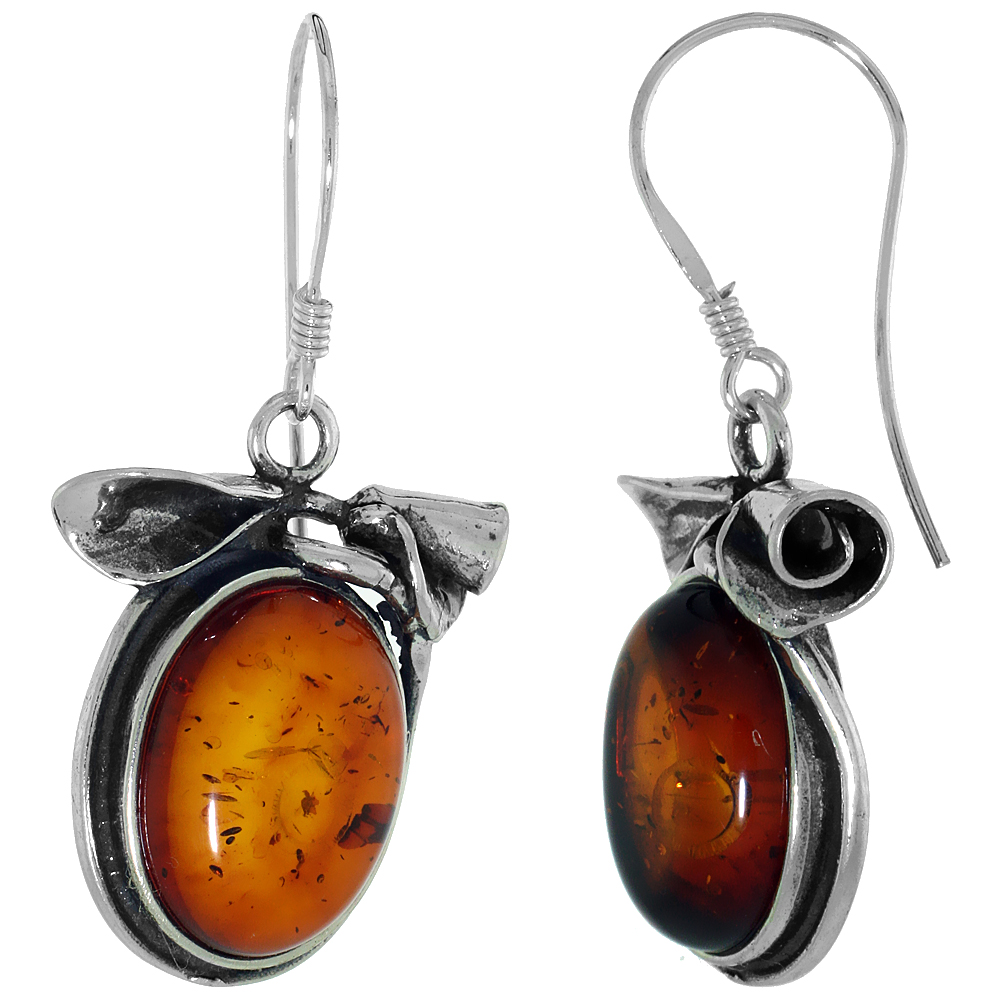 Sterling Silver Amber Hook Earrings Rose Accents Oval, 13/16 inch wide
