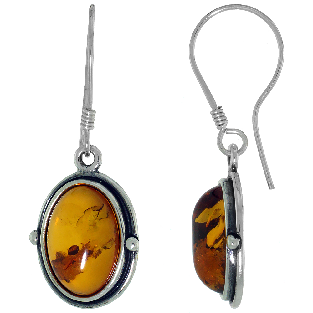Sterling Silver Amber Hook Earrings Bead Accents Oval, 5/8 inch wide