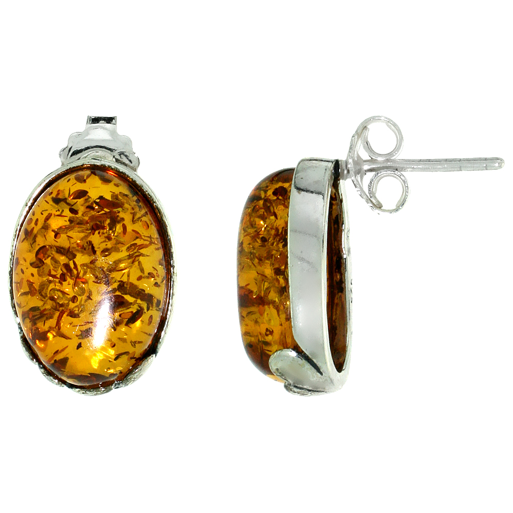 Sterling Silver Amber Post Earrings Leaf Accent Oval, 7/16 inch wide