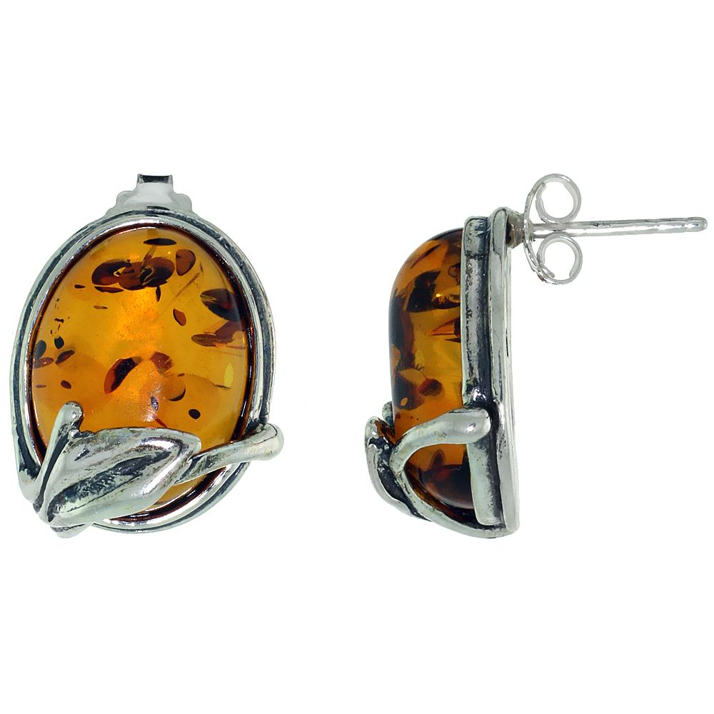 Sterling Silver Amber Post Earrings Leaf Accent Oval, 5/8 inch wide