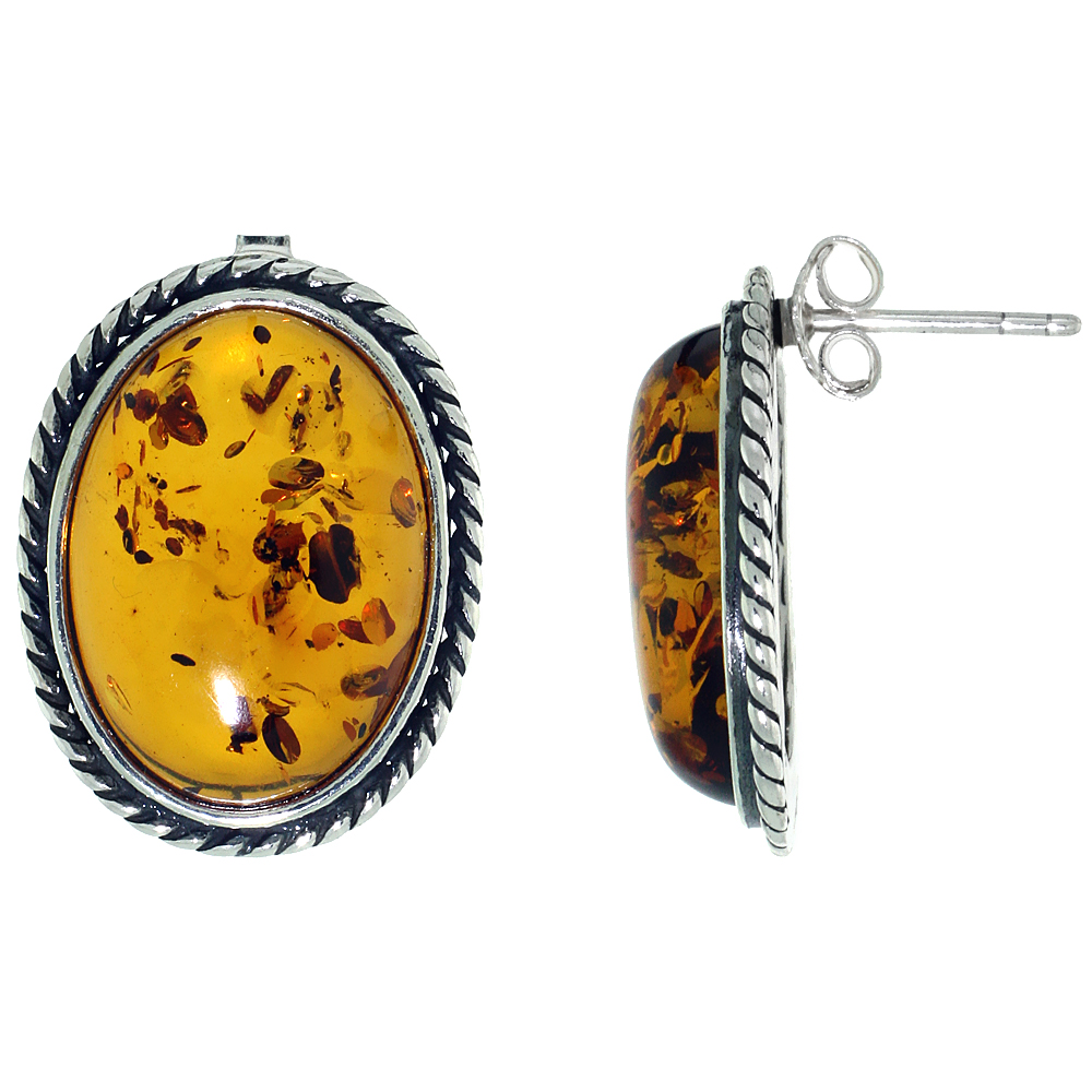 Sterling Silver Amber Post Earrings Coin Edge Accent Oval, 11/16 inch wide