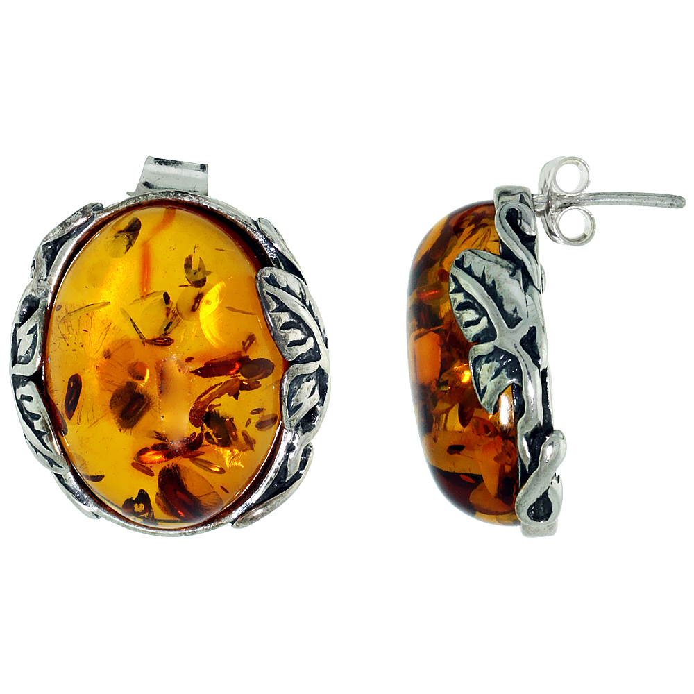 Sterling Silver Amber Post Earrings Leaf Accents Oval, 13/16 inch wide
