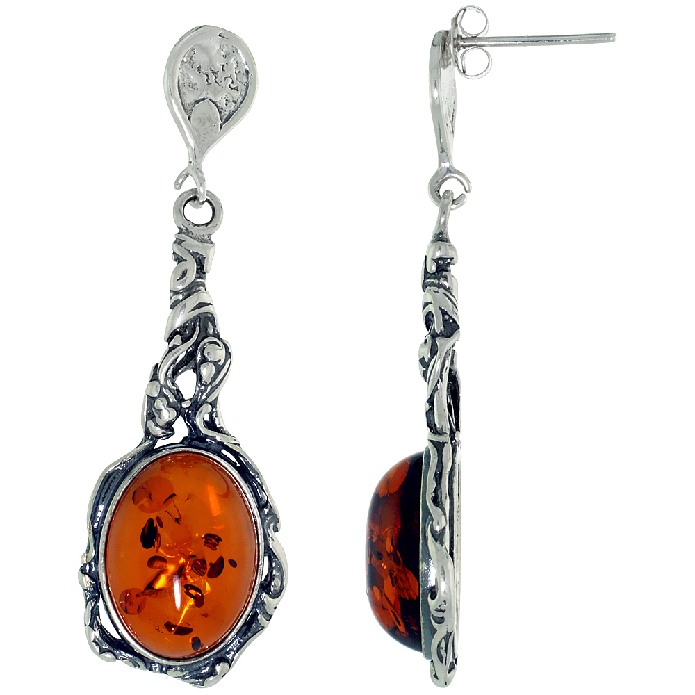 Sterling Silver Amber Dangle Earrings Vine Accent Oval, 5/8 inch wide