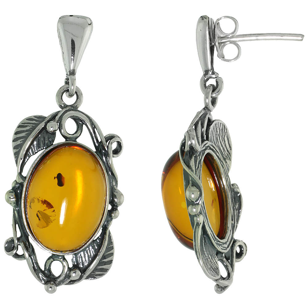 Sterling Silver Amber Dangle Earrings Leaf Accents Oval, 5/8 inch wide