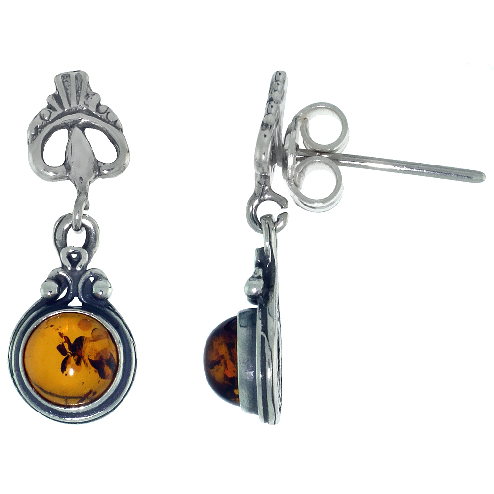 Sterling Silver Amber Dangle Earrings Leaf Accent Round, 5/16 inch wide