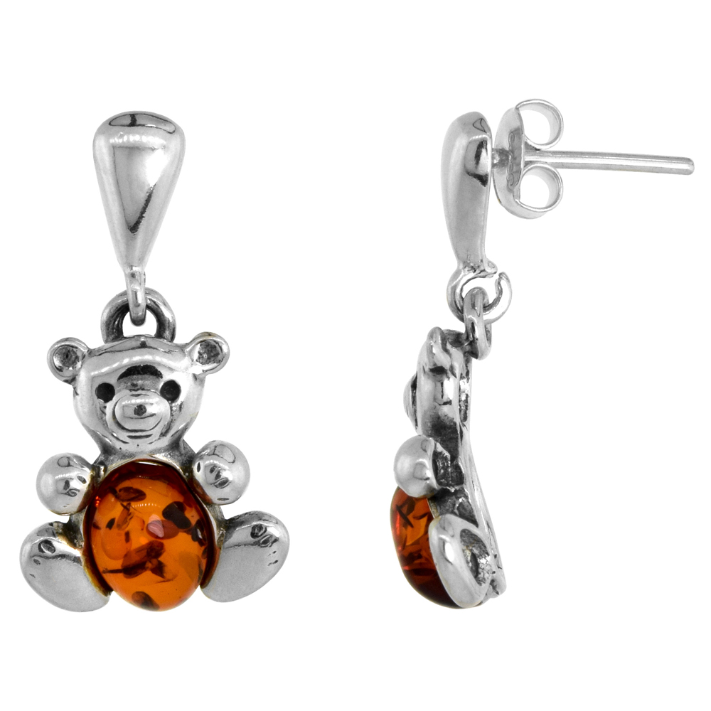 Sterling Silver Amber Dangle Earrings Teddy Bear, 17/32 inch wide