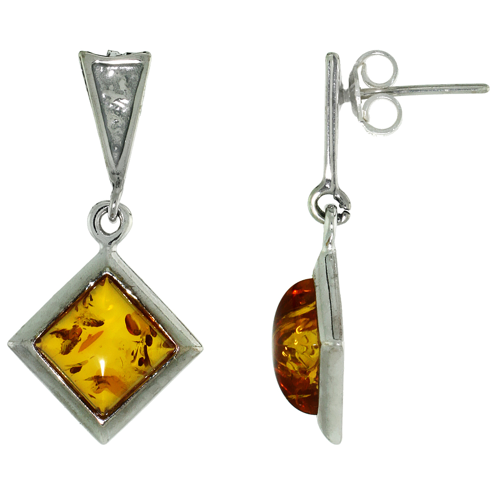 Sterling Silver Amber Dangle Earrings Rhombic, 19/32 inch wide