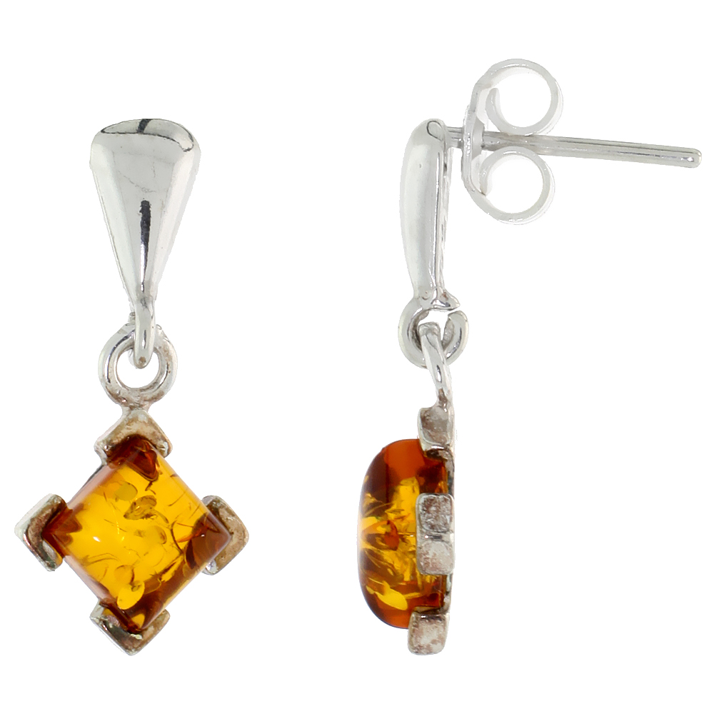 Sterling Silver Amber Dangle Earrings Rhombic, 13/32 inch wide