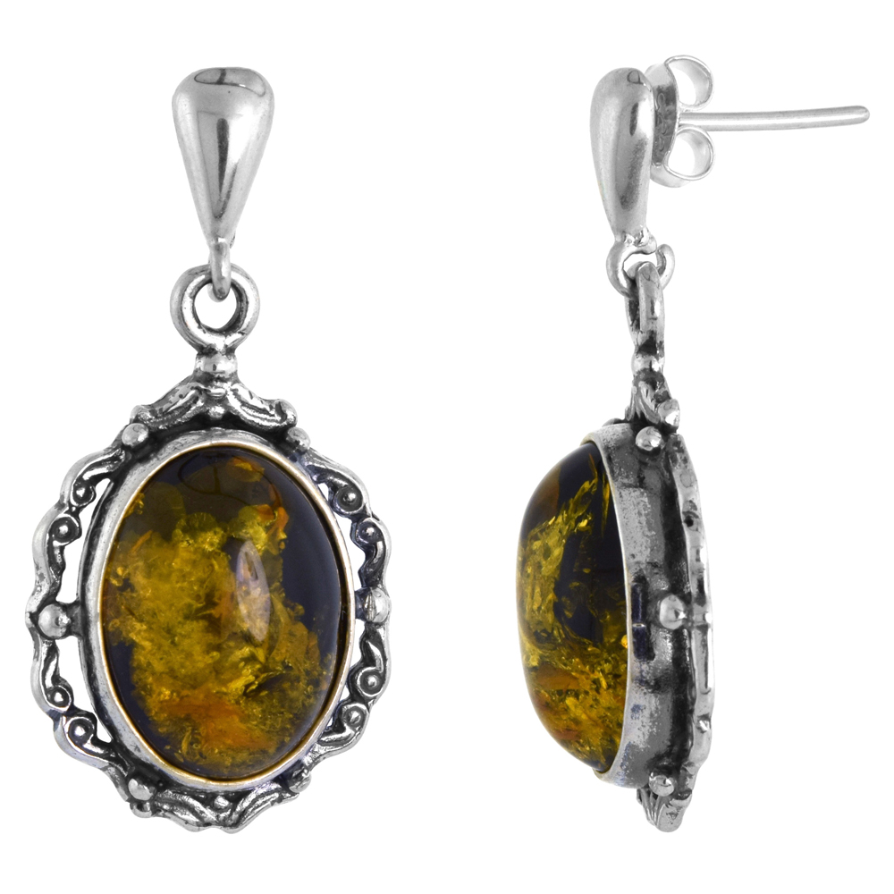 Sterling Silver Swirl Frame Green Amber Dangle Earrings Oval, 11/16 inch wide