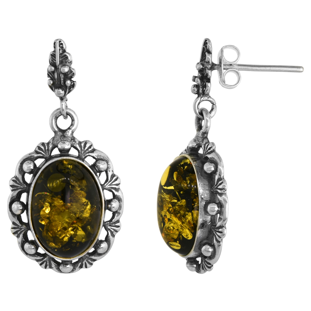 Sterling Silver Floral Outline Green Amber Dangle Earrings Oval, 11/16 inch wide