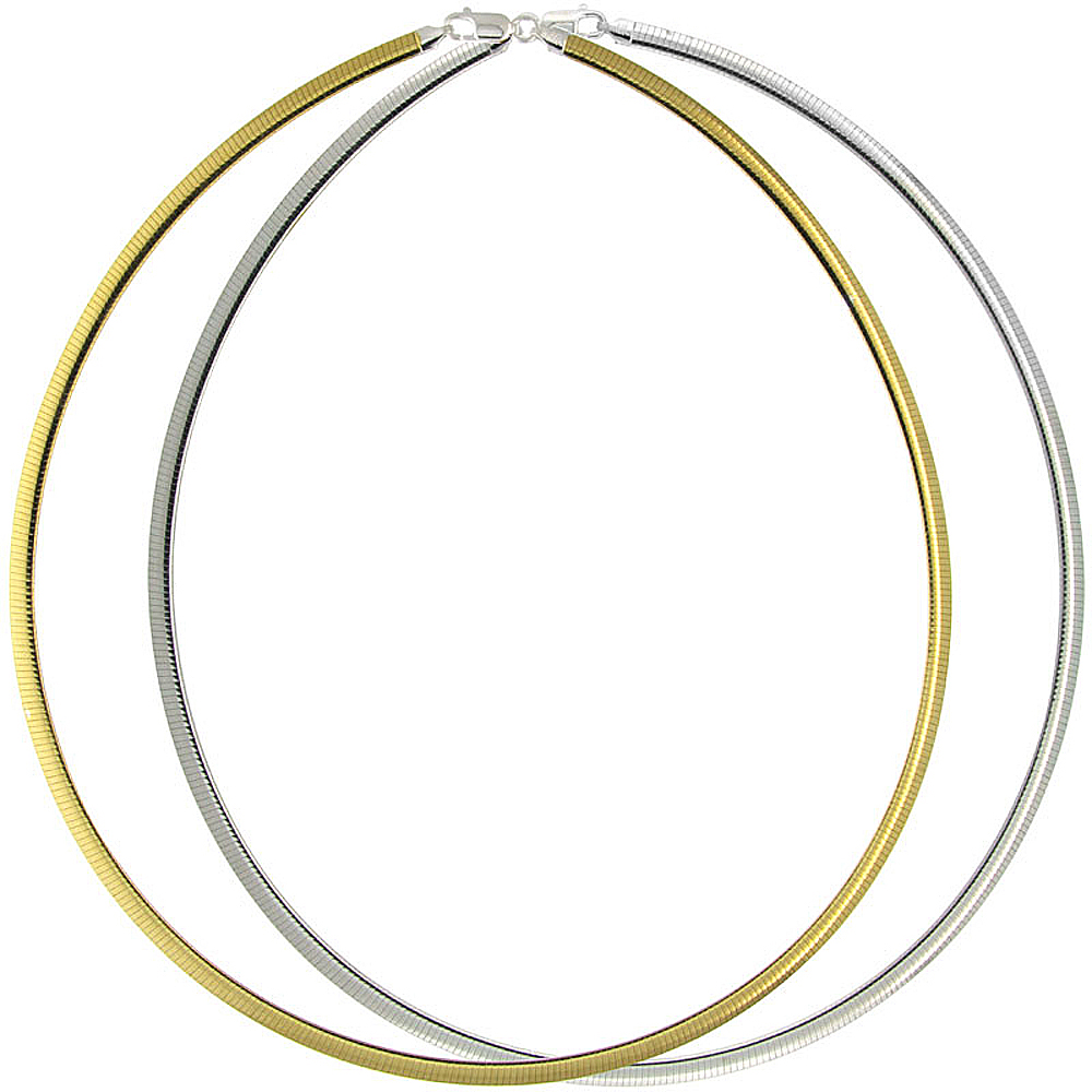 Two Tone Sterling Silver 4mm Reversible Omega Necklace for Women Nickel Free Italy 3/16 inch wide, sizes 16- 18 inch