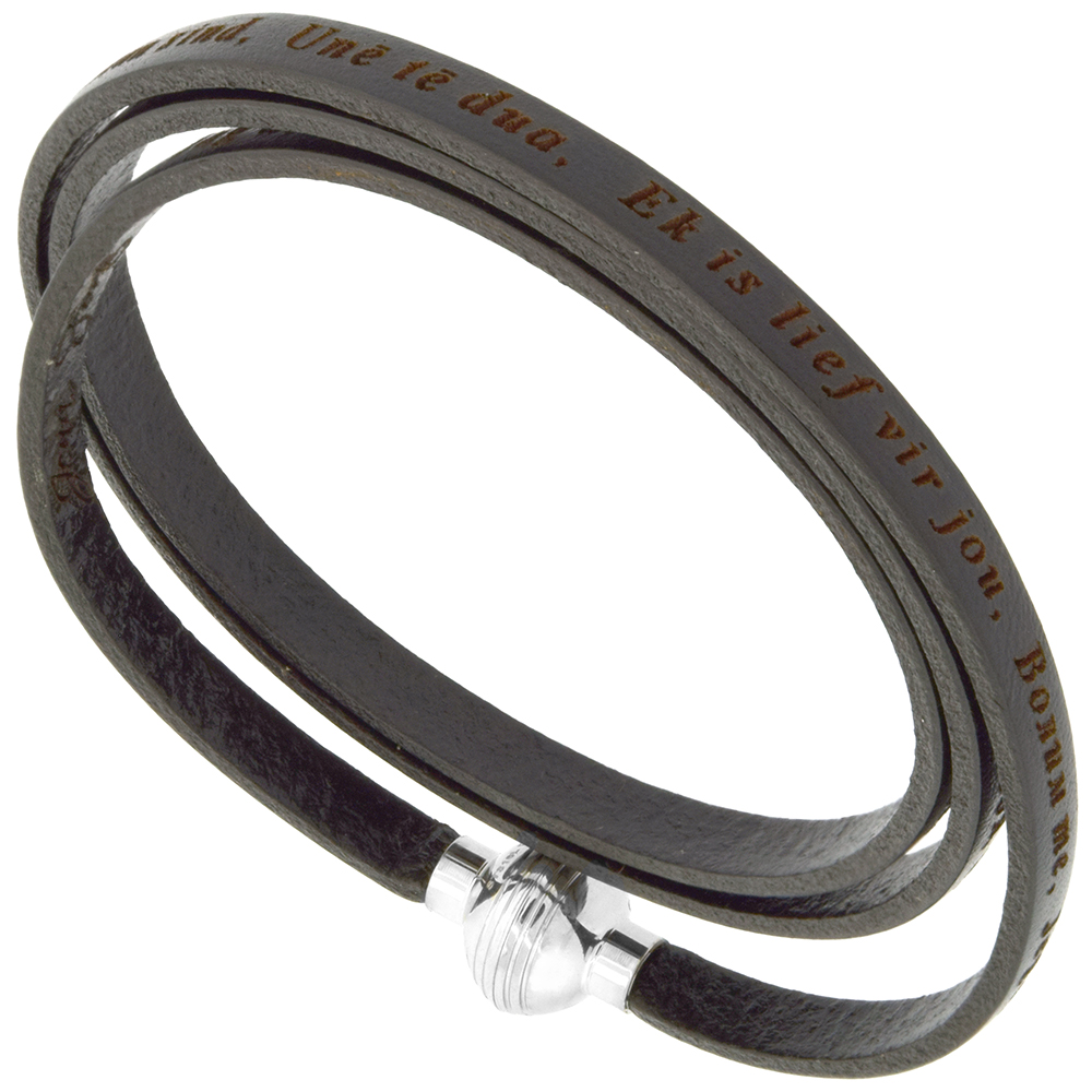 Leather I Love You Bracelet Black Full Grain 3 Wrap Stainless Steel Magnetic Clasp Italy 22.5 Inch