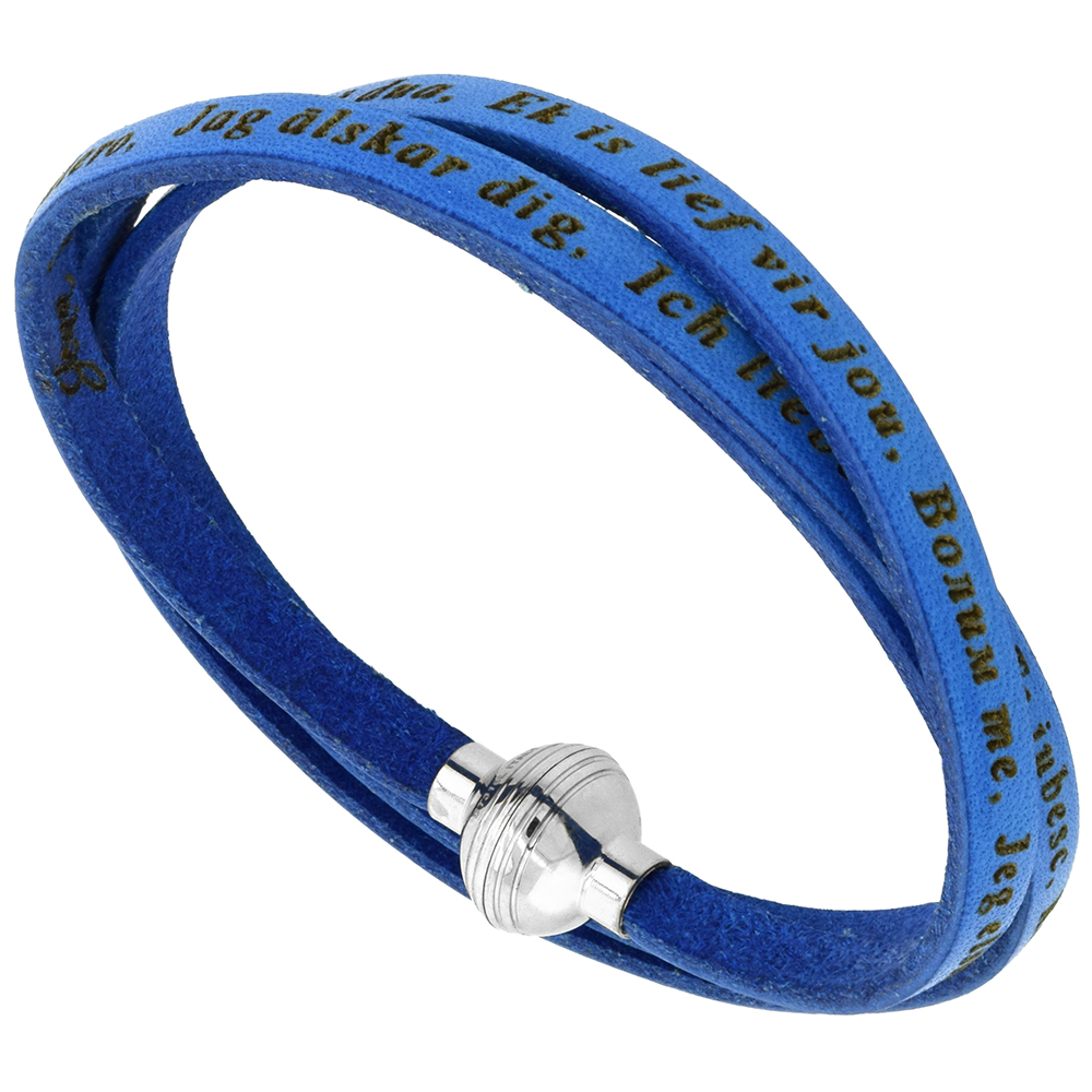 Leather I Love You Bracelet Blue Full Grain 3 Wrap Stainless Steel Magnetic Clasp Italy 22.5 Inch