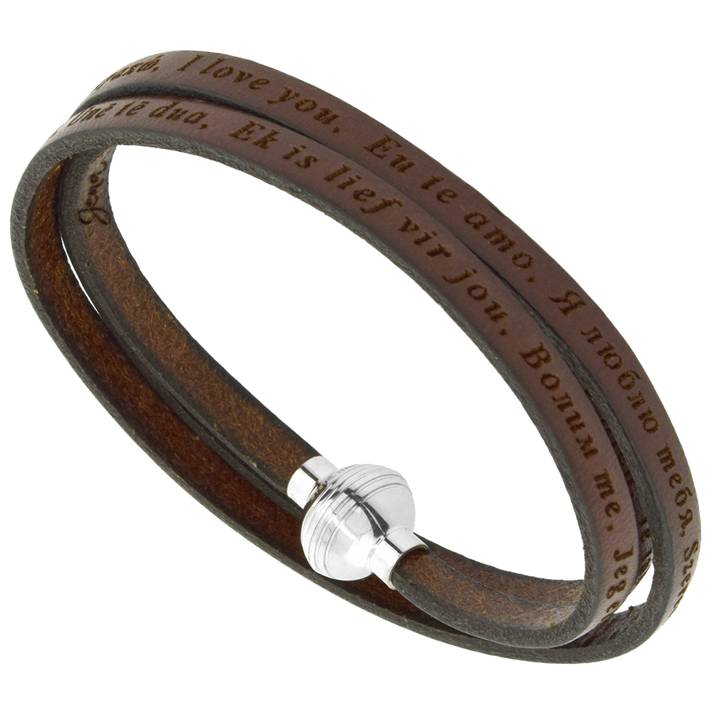 Leather I Love You Bracelet Brown Full Grain 3 Wrap Stainless Steel Magnetic Clasp Italy 22.5 Inch