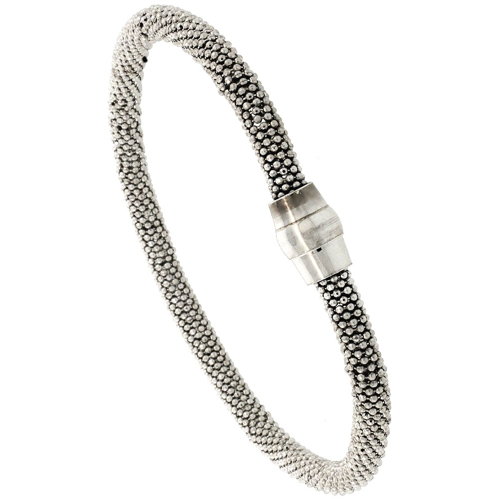 Sterling Silver 7 inch Flexible Beaded Bangle Bracelet Magnetic Clasp Rhodium Finish