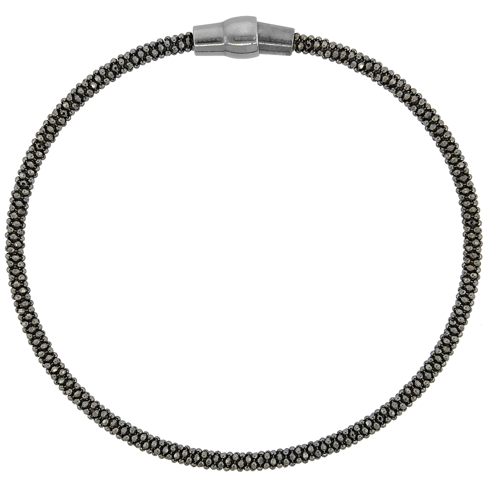Sterling Silver 7 inch Flexible Bangle Bracelet Magnetic Clasp Black Rhodium Finish