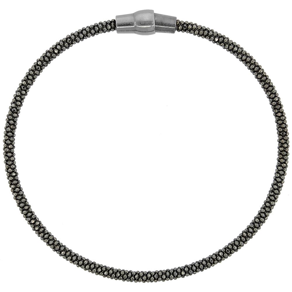 Sterling Silver 7 inch Flexible Bangle Bracelet Magnetic Clasp Black Rhodium Finish