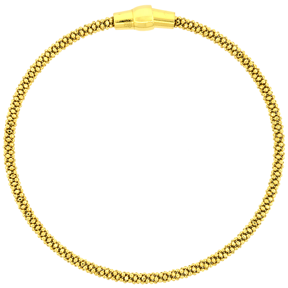 Sterling Silver 7 inch Flexible Bangle Bracelet Magnetic Clasp Yellow Gold Finish