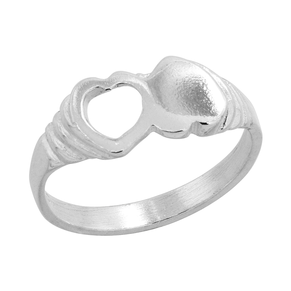 Sterling Silver Double Heart Baby Ring / Kid's Ring / Toe Ring (Available in Size 1 to 5)