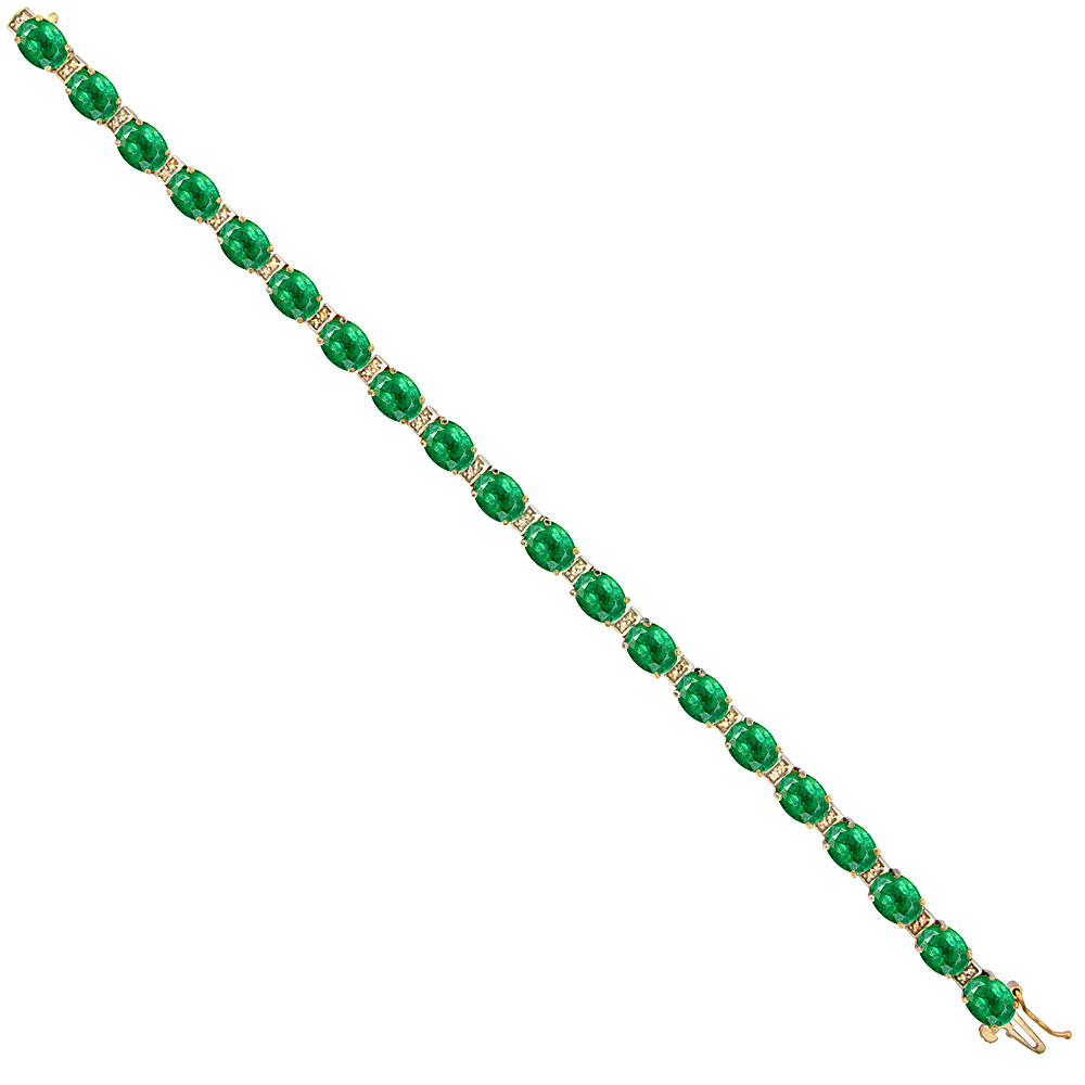 10K Yellow Gold Natural Emerald Oval Tennis Bracelet 7x5 mm stones, 7 inches