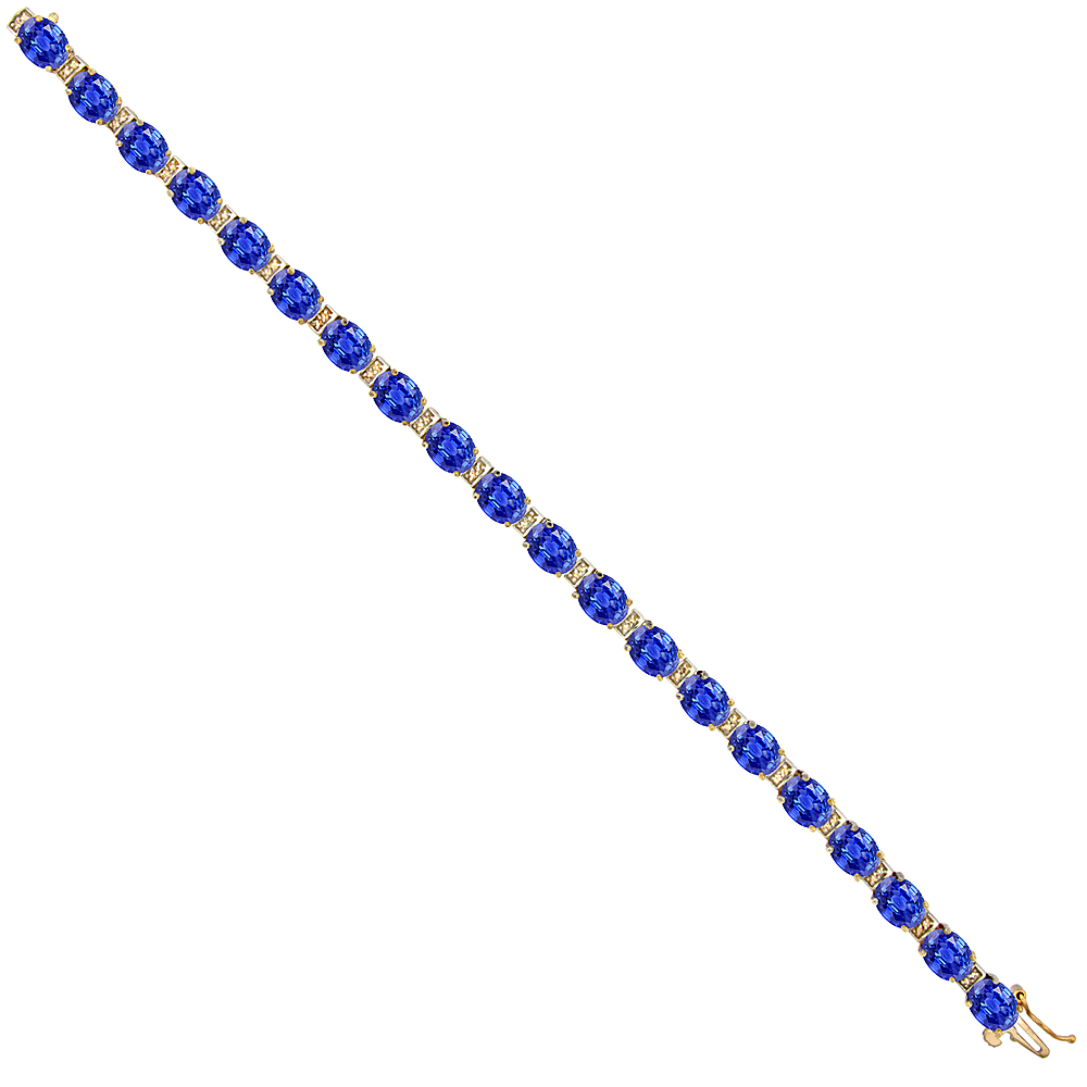 10K Yellow Gold Natural Blue Sapphire Oval Tennis Bracelet 7x5 mm stones, 7 inches