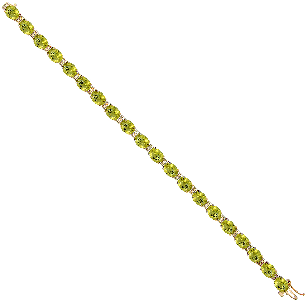 10K Yellow Gold Natural Lemon Quartz Oval Tennis Bracelet 7x5 mm stones, 7 inches
