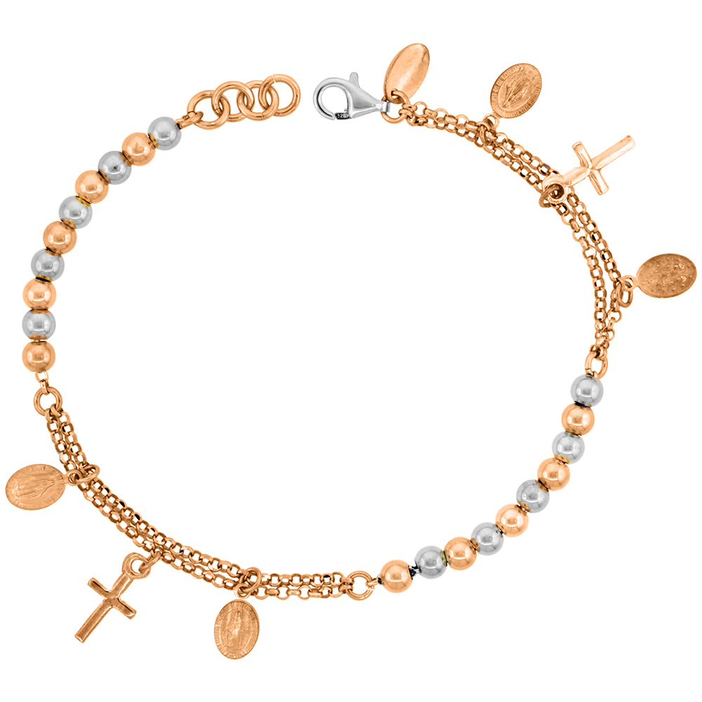 Sterling Silver Rosary Bracelet Miraculous Medal 4 mm Beads two-tone Rose finish Italy, 7 inch