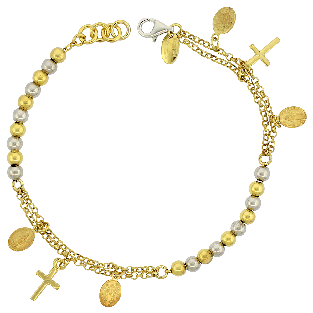 Sterling Silver Rosary Bracelet Miraculous Medal 4 mm Beads two-tone Gold finish Italy 7 inch
