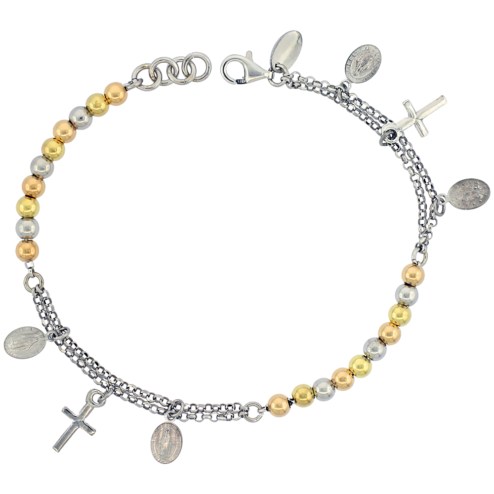 Sterling Silver Rosary Bracelet Miraculous Medal 4 mm Beads 3-tone Rhodium finish Italy 7 inch