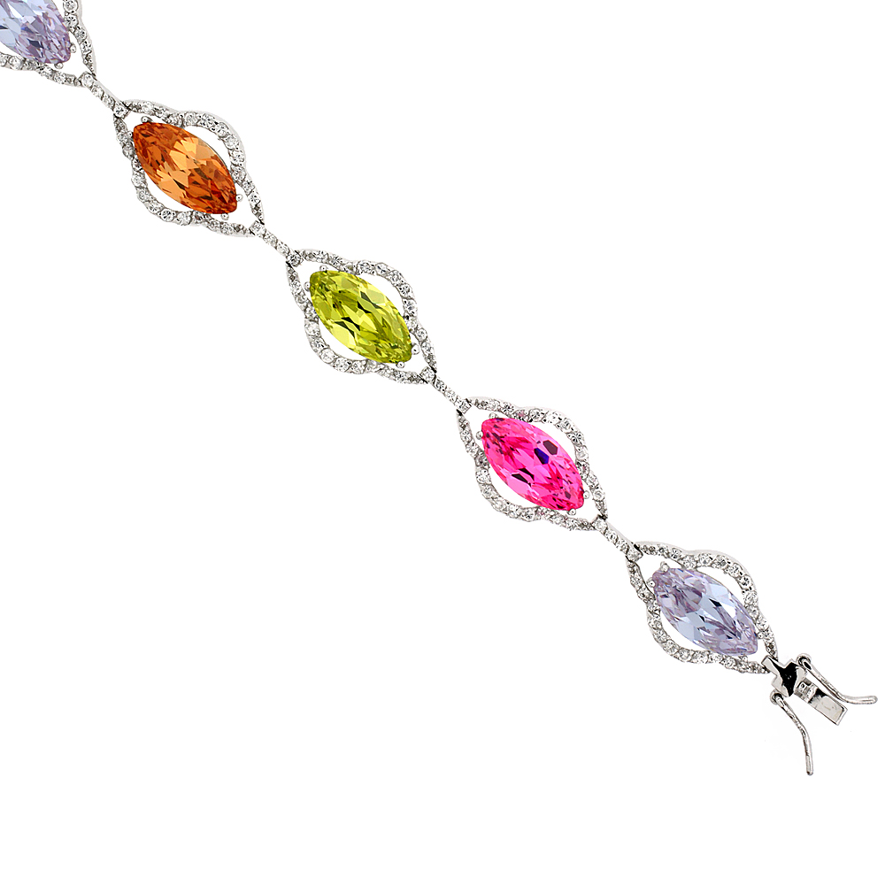 Sterling Silver Multi Color Cubic Zirconia Marquise Bracelet Ladies Large Marquise cut 14 mm wide 7 inch