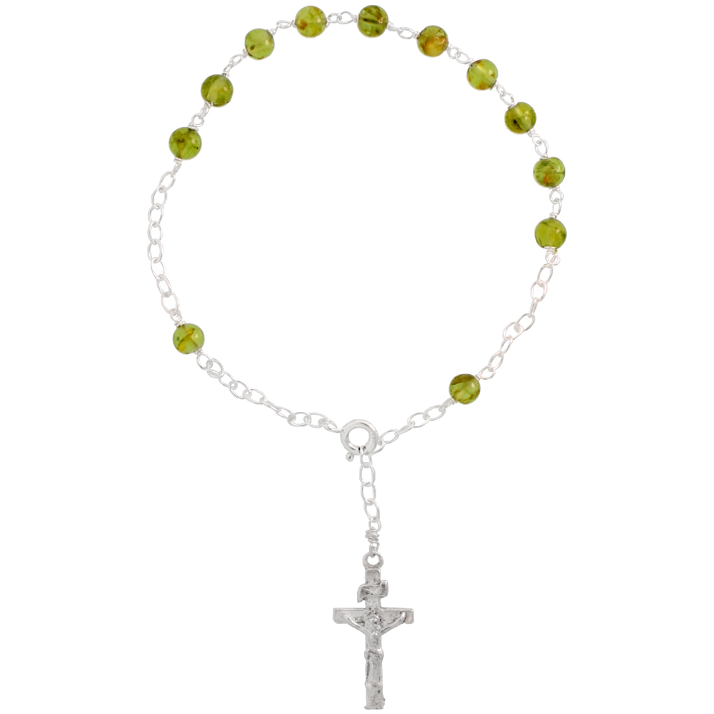 Sterling Silver Natural Peridot Rosary Bracelet 5 mm Beads, 7 1/4 inch long