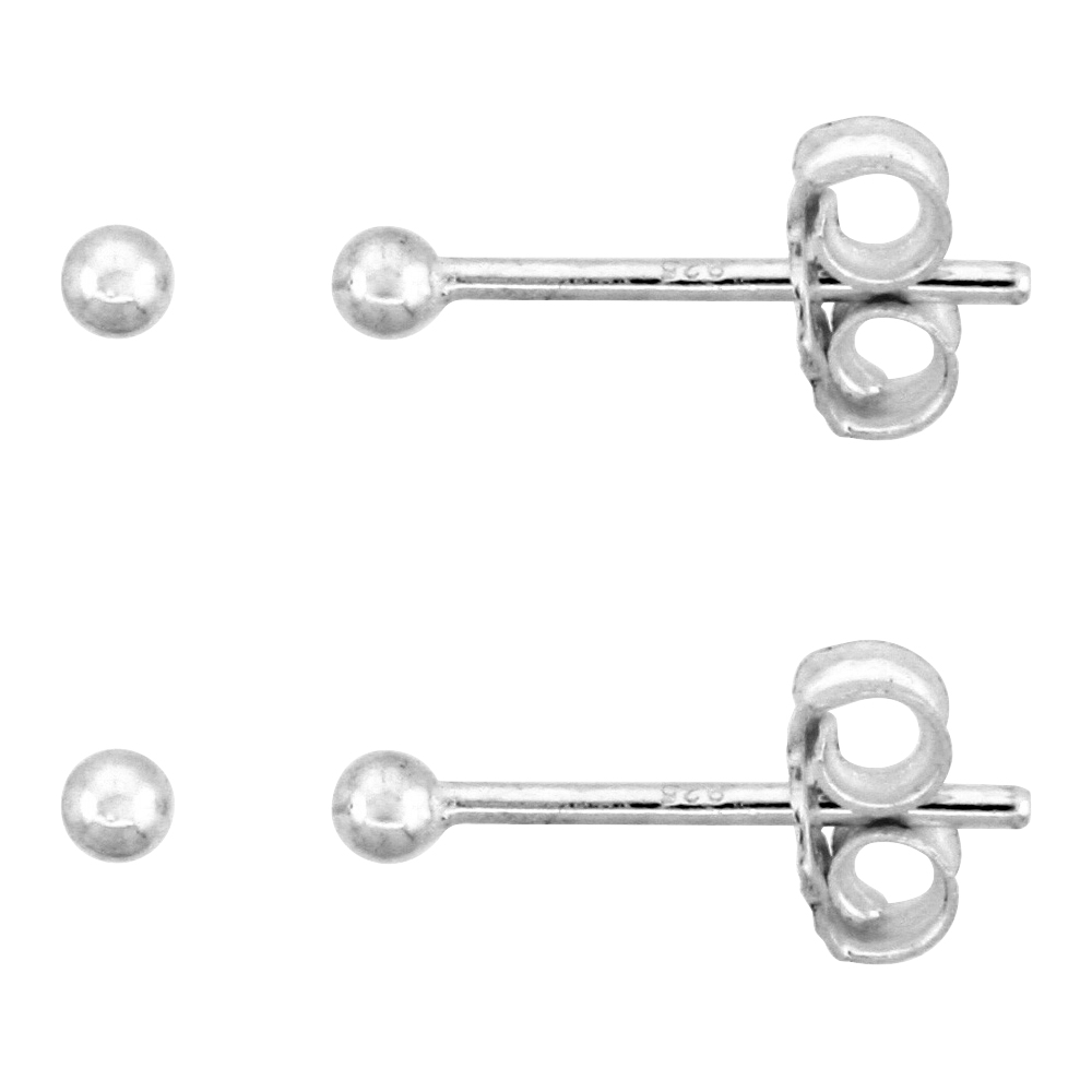 2-Pair Pack Sterling Silver Teeny 2mm Ball Stud Earrings / Nose Studs for Women and Girls 1/16 inch