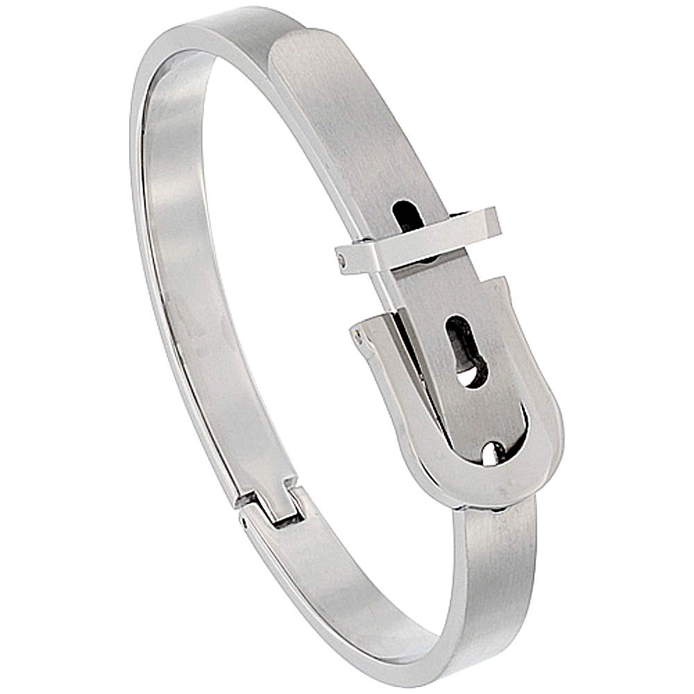 Stainless Steel Belt Buckle Bangle Bracelet for Women Oval Adjustable 7mm wide Satin Finish , fits 7 - 7.5 inch wrists