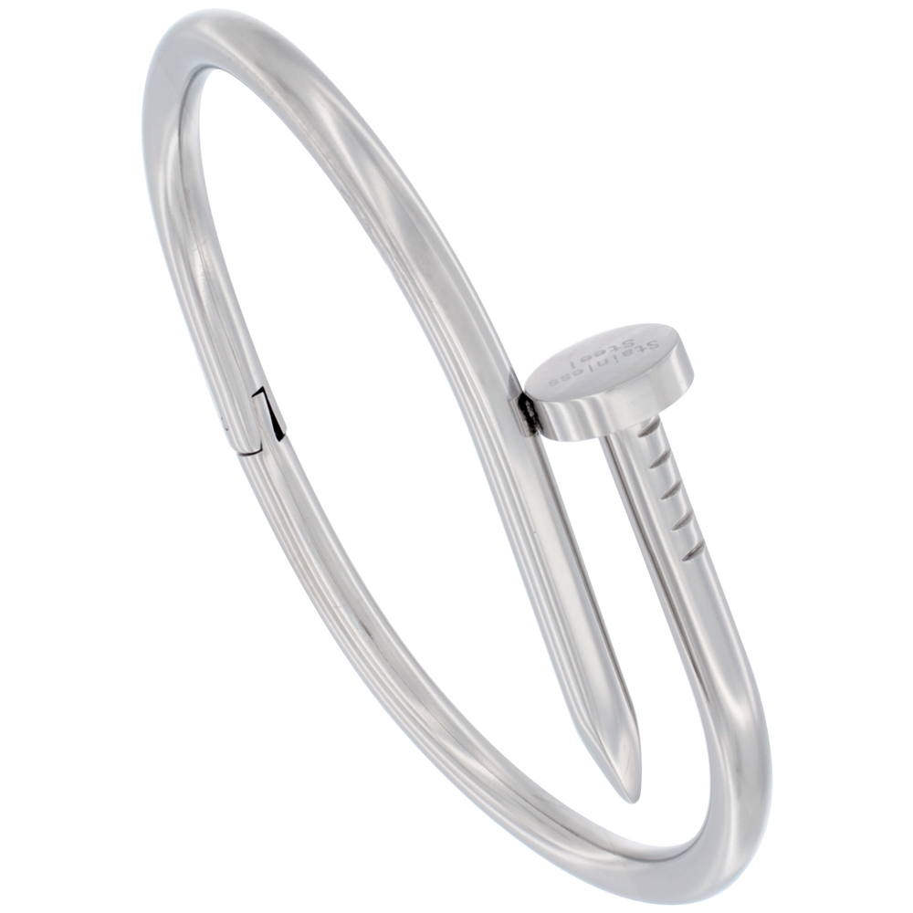 Stainless Steel Nail Bracelet for Women High Polish, fits 7 inch wrists