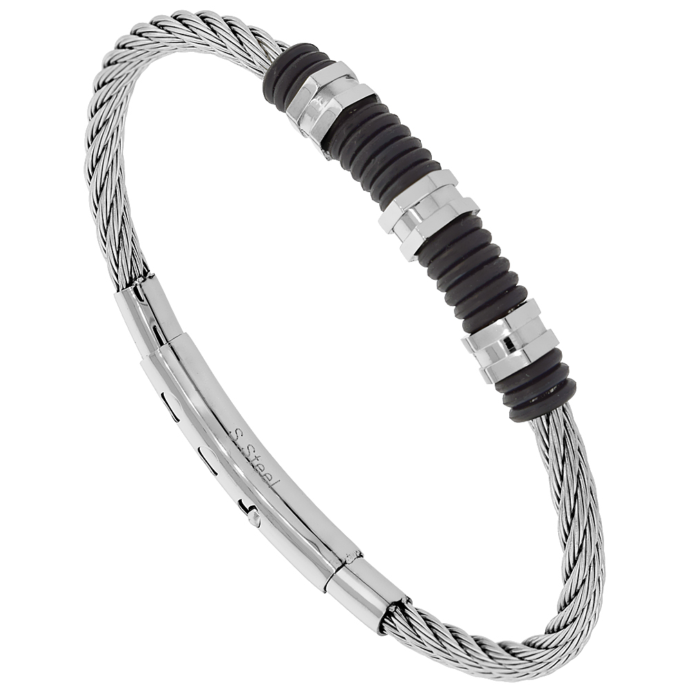 Stainless Steel Adjustable Wire Bangle Bracelet Black Rubber Rings Center, fits 8 - 8.5 inch wrists