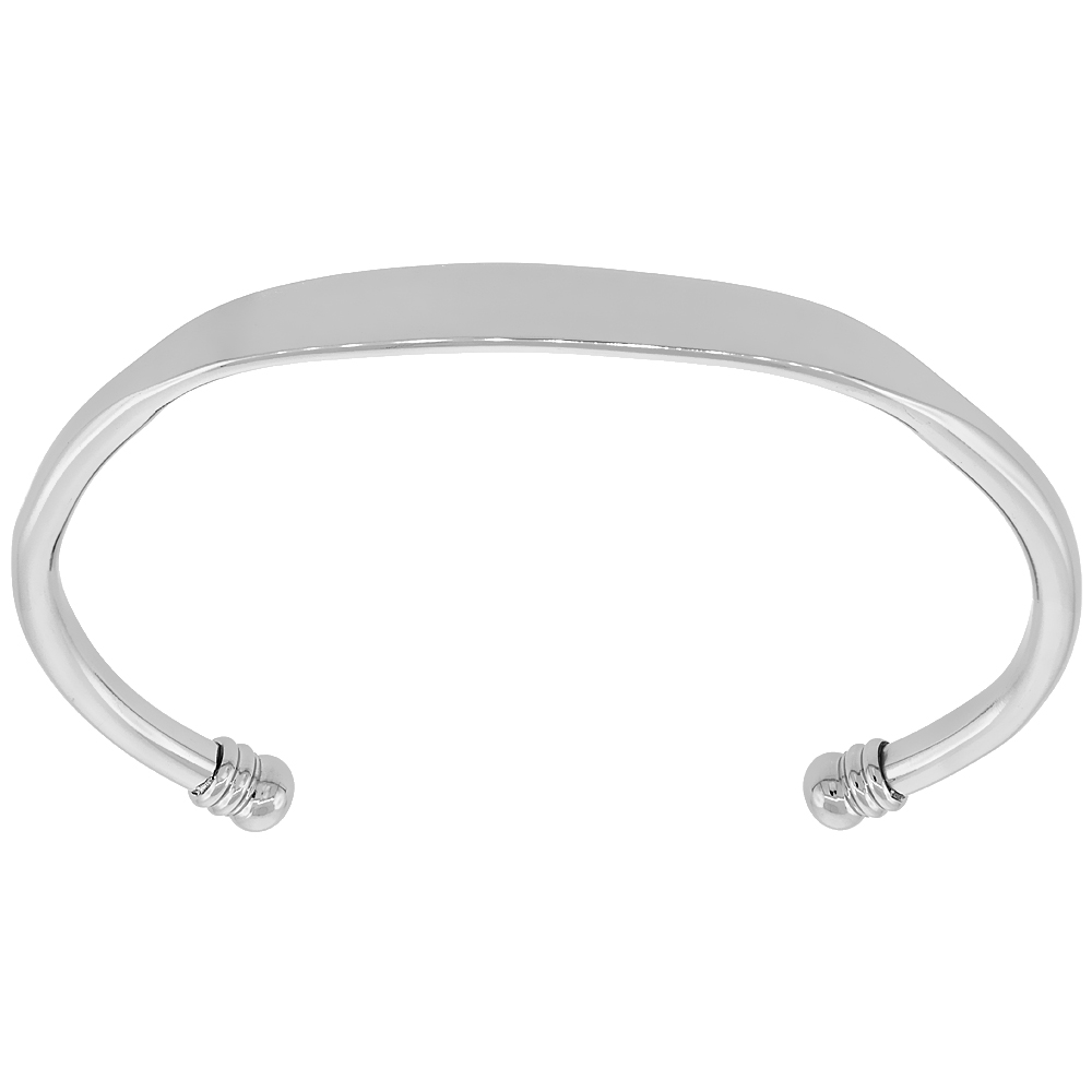 Stainless Steel Cuff Bracelet Flattened Center 5 mm Ball Ends Small Size For Women and Men, sizes 7 - 8