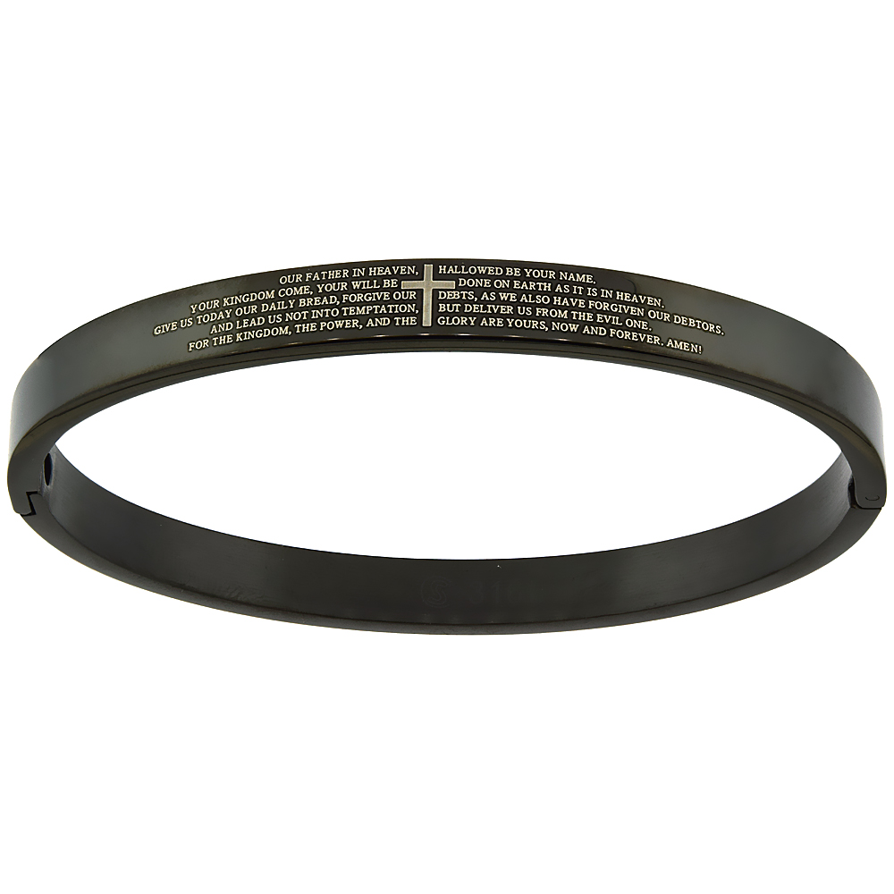Stainless Steel Lords Prayer Bangle Bracelet for Women Oval Black 1/4 inch wide, fits 7 inch wrists