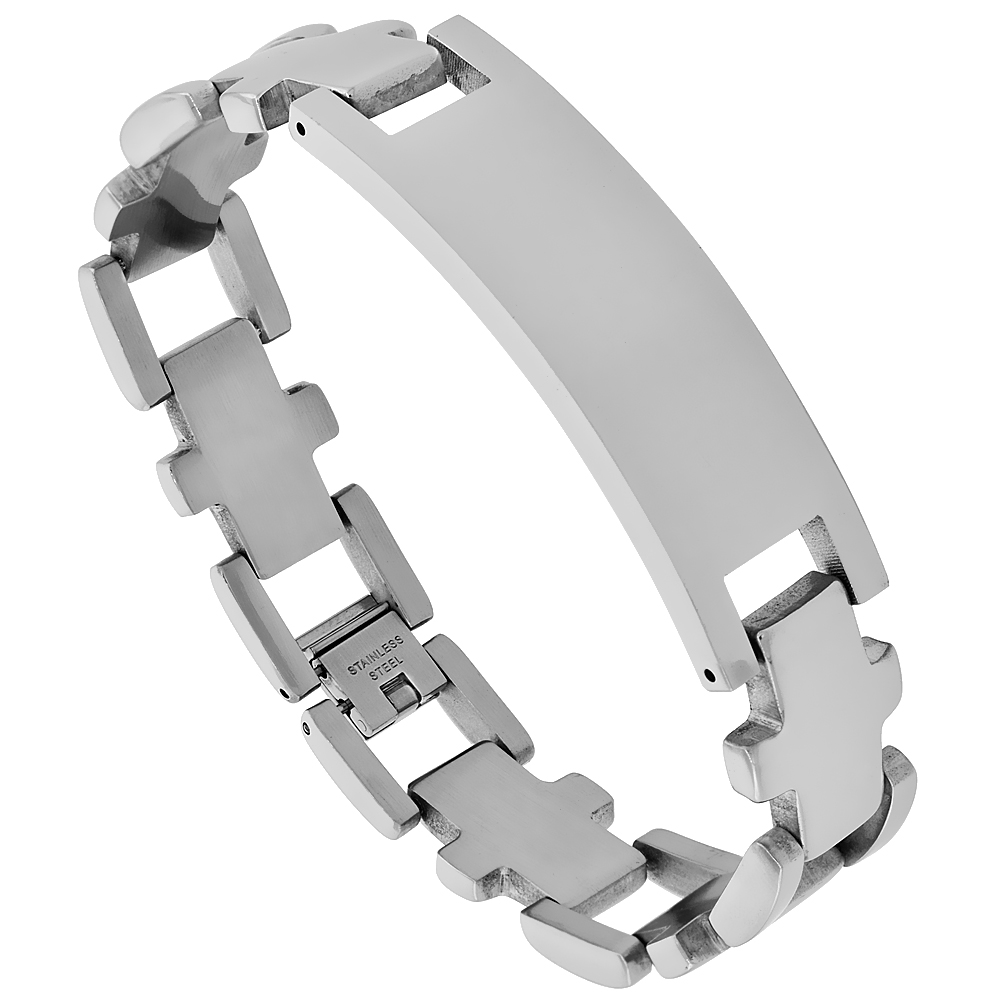 Stainless Steel Identification Cross Bracelet 5/8 inch wide, 8.5 inches long