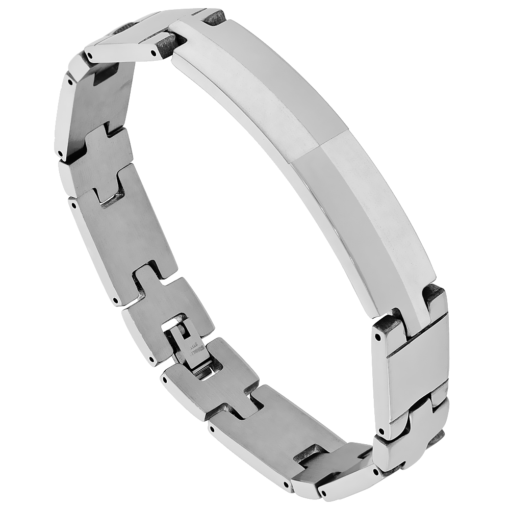 Stainless Steel Identification Satin Contrast Bar Bracelet 9/16 inch wide, 9 inches long
