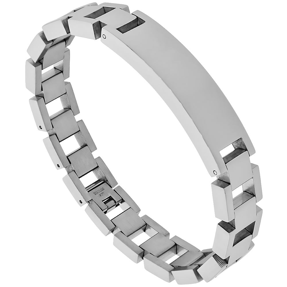 Stainless Steel Identification Rectangular Bar Bracelet 1/2 inch wide, 9 inches long