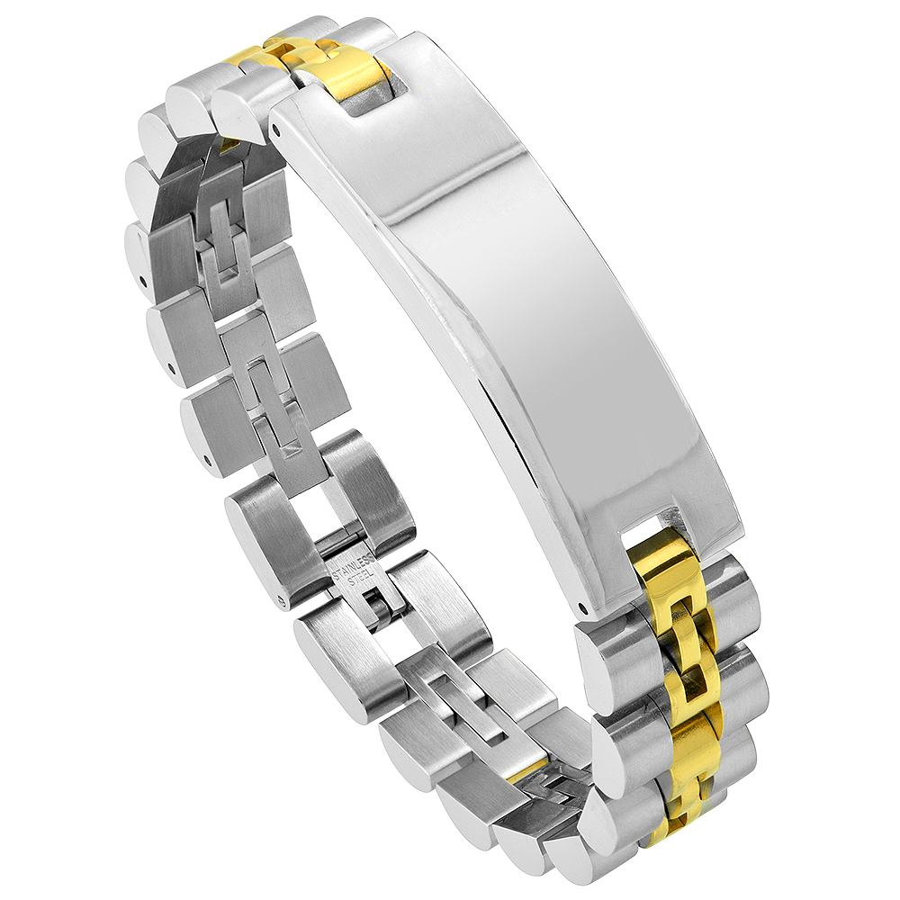 Stainless Steel Watch Band Identification Bracelet for Men Gold Plated Two-tone, 8.25 inch long