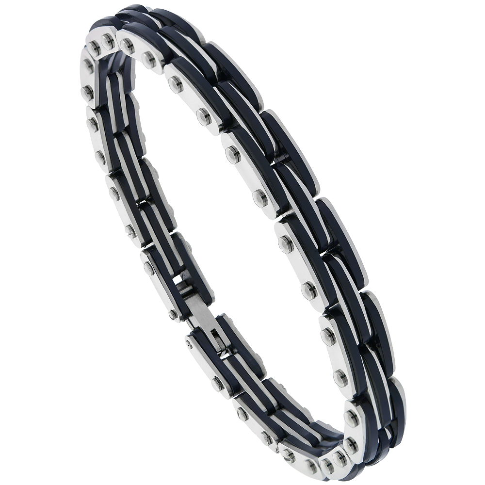 Stainless Steel Bracelet For Men Black Rubber Accent 3/8 inch wide, 8.5 inch long