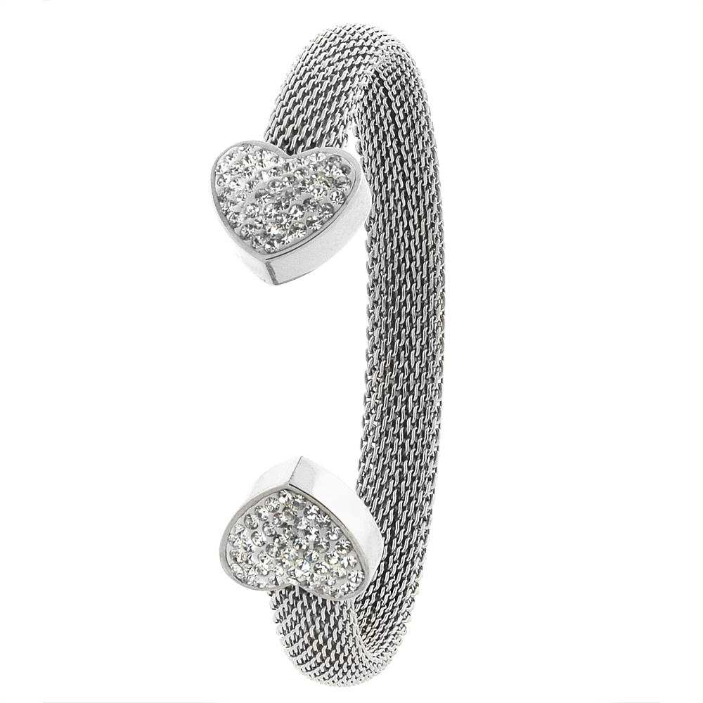 Stainless Steel Mesh Cuff Bracelet for Women CZ Heart Ends 8mm wide, fits 7 inch wrists