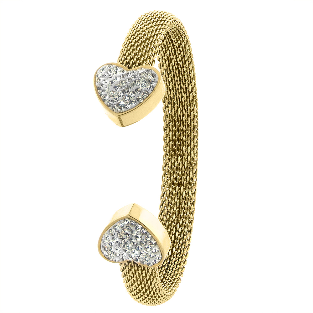 Stainless Steel Mesh Cuff Bracelet for Women CZ Heart Ends Gold Tone 8mm wide, fits 7 inch wrists