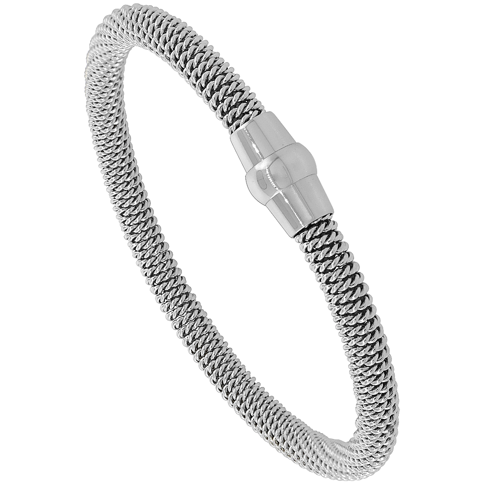 Stainless Steel Mesh Magnetic Flexible Bracelet Polished Finish, 3/16 inch wide